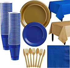 Party City Gold and Royal Blue Plastic Tableware Kit for 50 Guests, 487 Pieces, Includes Plates, Napkins, and Utensils