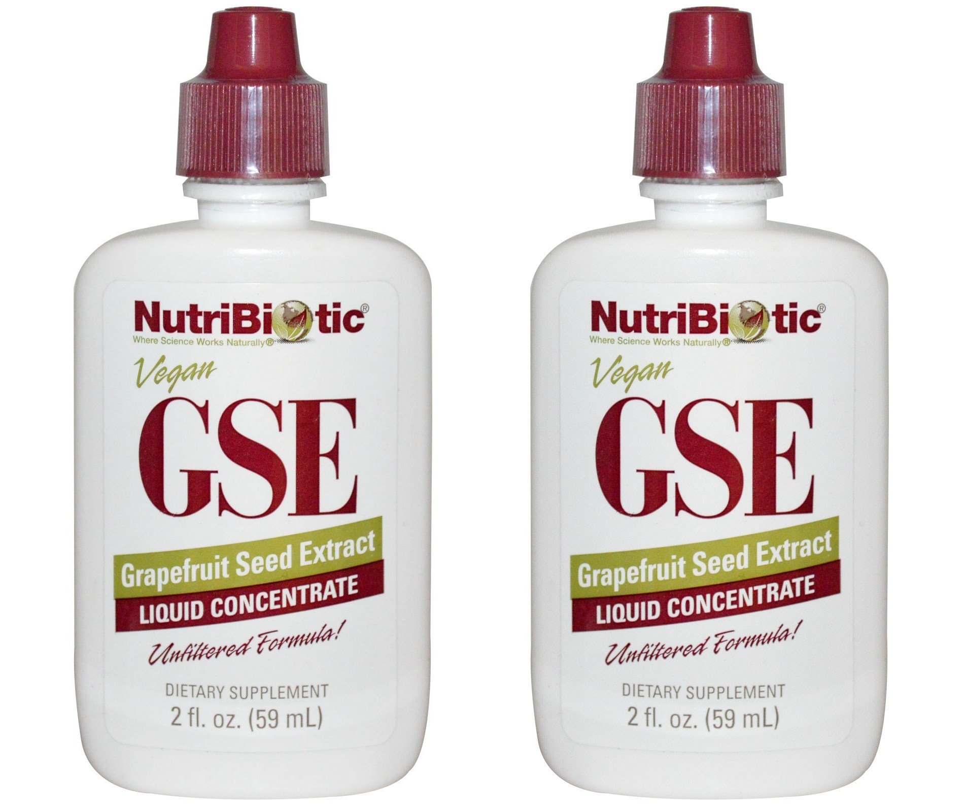 NutriBiotic Grapefruit Seed Extract Liquid Concentrate (Pack of 2) Featuring Unfiltered Formula Rich with Bioflavonoids, Vegan, Gluten Free and Made Without GMOs, 2 oz.