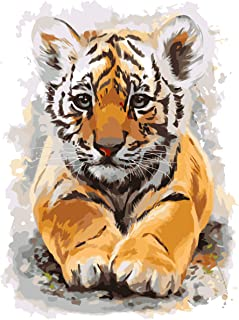 FAVOREADS Paint by Numbers Kit: Little Baby Tiger   DIY Canvas Painting for Adults & Kids   Pre-Printed Canvas, 3 Brushes ...