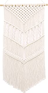 MyHutShop Macrame Woven Wall Hanging – Boho Decor – Off White Tapestry..