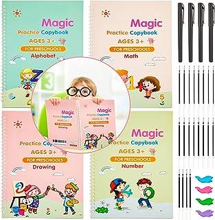 4 Pieces Large English Magic Practice Copybook Handwriting Copybook Reusable Calligraphy Copybook with 4 Pens and 20 Refil...