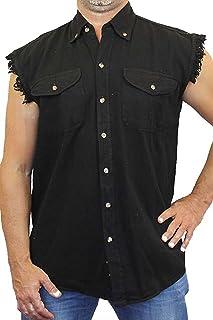 SHORE TRENDZ Men`s Basic Sleeveless Denim Vest with 2 Front Pockets Biker Shirt