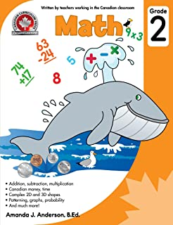 Math Grade 2: Addition, subtraction, multiplication, Canadian money and time, Complex 2D and 3D shapes, Patterning, graphs...