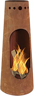 Sunnydaze Sante Fe Steel Chiminea with Rustic Finish - Outdoor Wood-Burning Metal Fire Pit with Log Grate for Cabin, Patio and Backyard - Modern Bonfire Pit - 50-Inch