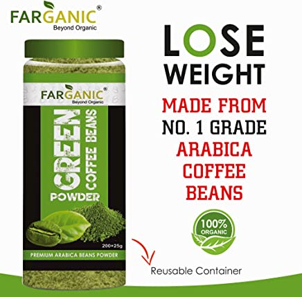 FARGANIC 100% Certified Organic Arabica Green Coffee Beans Powder for Weight Loss (200+25GM)