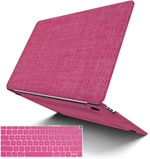 MacBook Pro 13 Inch Case 2019 2018 2017 2016 Release A2159 A1989 A1706 A1708, JGOO Fabric Slim Plastic Hard Shell Cover, Laptop Protective Case for Apple Mac Pro 13 with/Without Touch Bar, Rose Red