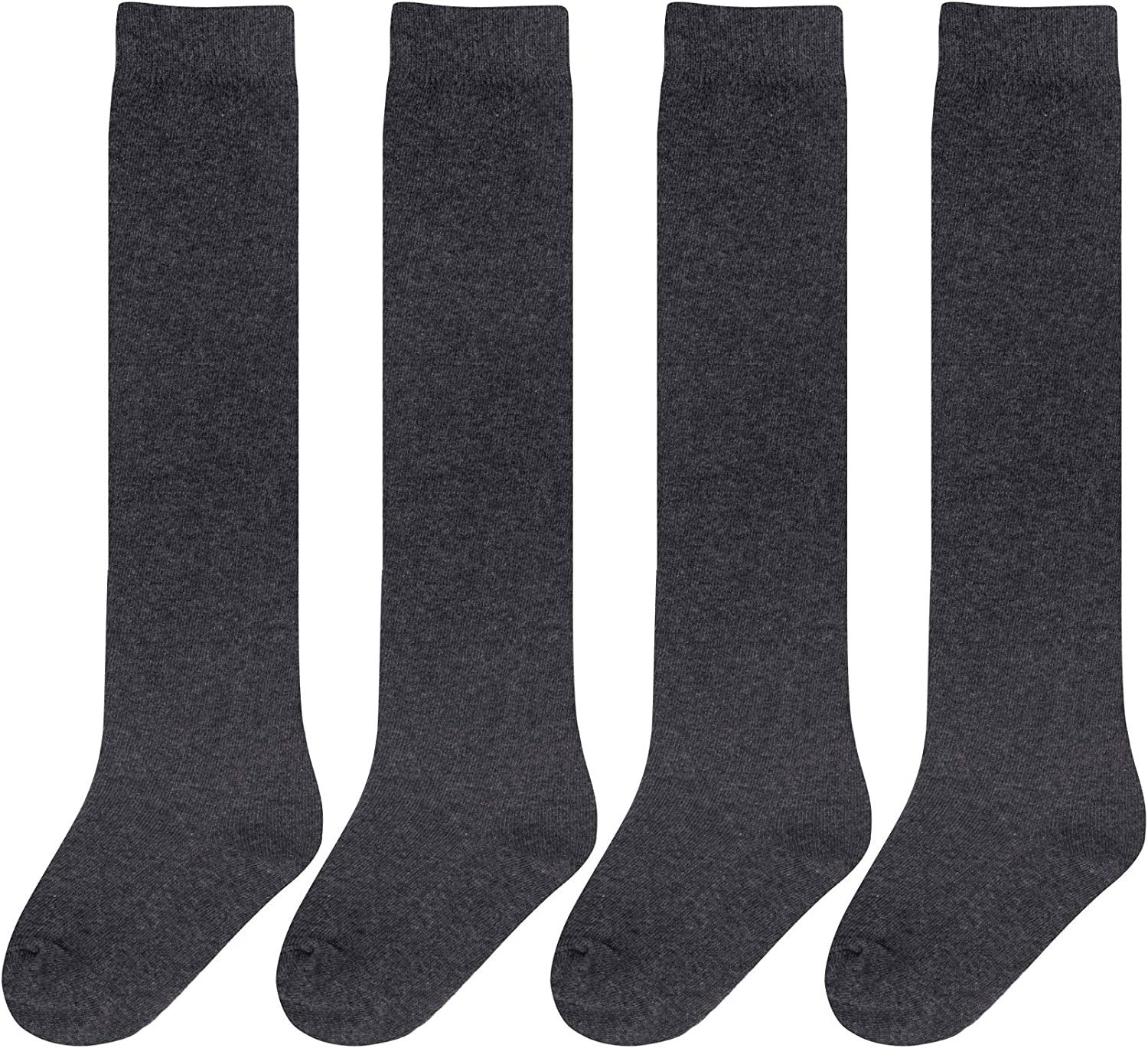 Chalier 4 Pairs Girls Knee High Socks Cotton Knit Over Craft Thigh High Socks for Baby Toddler School Uniform