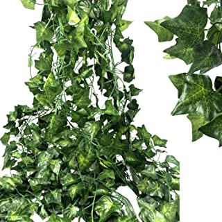 Ms Bloom Artificial Plants Fake Ivy Vines   12 Pack 84 Feet   Fake Leaves Greenery Garland   Silk Hanging Plants   Faux Foliage For Rustic Garden Wedding   Tropical Home Party Wall Decorations (Ivy)