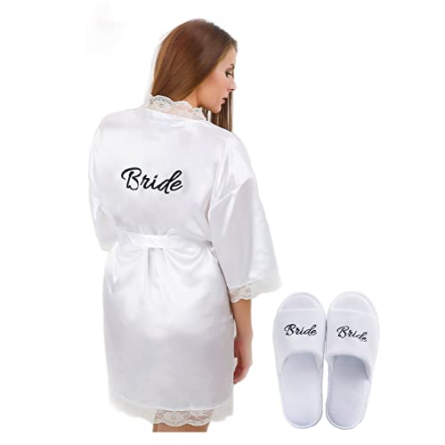 Womens Bridal White Robe with  Bride  Print on Back and Free Bridal Slippers  Set fa67abf32