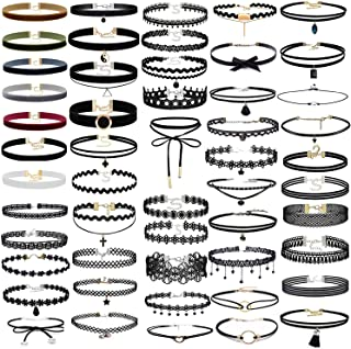 52 PCS Choker Necklace, K&Q Classic Stretch Colorful Gothic Collar Choker Necklace And Black Cute Lace Velvet Choker Necklace Set for Girls and Women