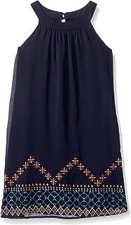 Speechless Girls' Big Chiffon Border Print High Neck Dress