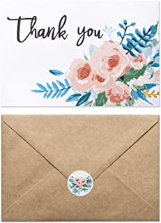 48 Pack Thank You Cards - Textured Thank You Cards- Fancy Watercolor Floral design Thank You Cards Printed On Texture Paper -Include 48 Matching Floral Design Stickers & 48 Kraft Envelopes- 4 x 6 Inch