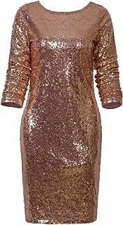 Vijiv Women's Sparkle Glitzy Glam Sequin Long Sleeve Flapper Party Club Dress