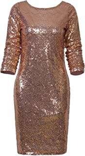 Women's Sparkle Glitzy Glam Sequin Long Sleeve Flapper Party Club Dress