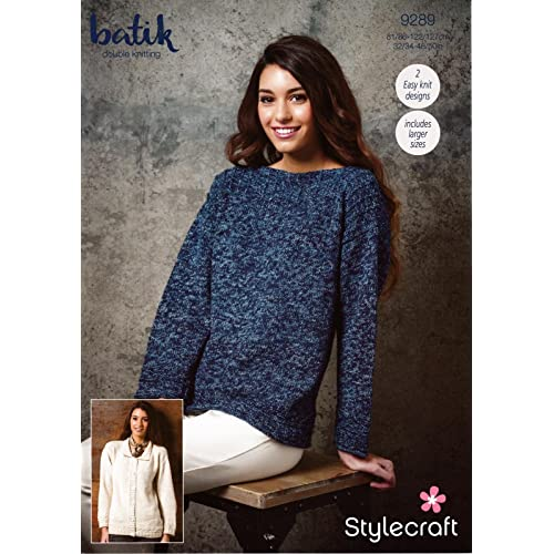 700e682398fd Stylecraft 9289 Knitting Pattern Womens Easy Knit Sweater and Cardigan in  Stylecraft Batik DK