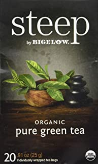 Steep by Bigelow Organic Pure Green Tea 20 Count Organic Caffeinated Individual Green Tea Bags, for Hot Tea or Iced Tea, Drink Plain or Sweetened with Honey or Sugar