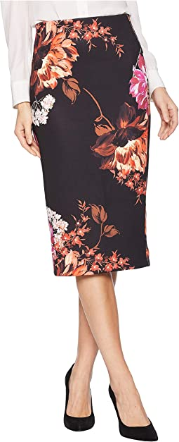 Floral Printed Scuba Skirt