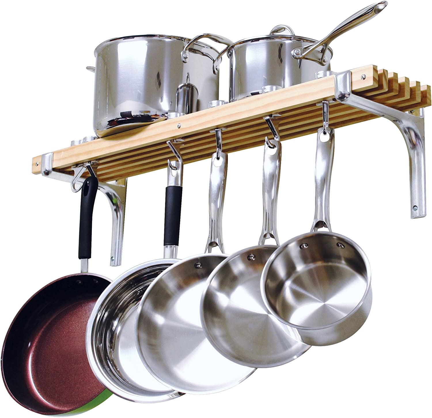 Amazon Com Cooks Standard Wall Mounted Wooden Pot Rack 36 By 8 Inch Kitchen Pot Racks Kitchen Dining