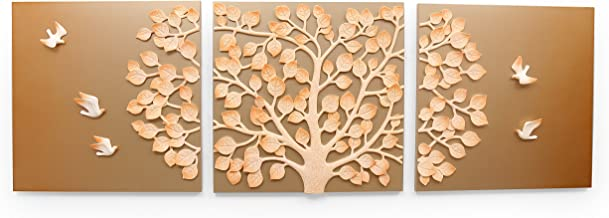 @Home by Nilkamal Tree of Life Resin HDF Wall Décor (5.01 cm x 60 cm x 60 cm, Golden Brown, Set of 3)