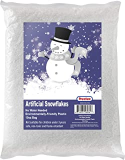 Artificial Snow 10 Ounces Snow Flakes for Christmas Tree Decoration, Village Displays - Sparkling White Dry Plastic Snowfl...