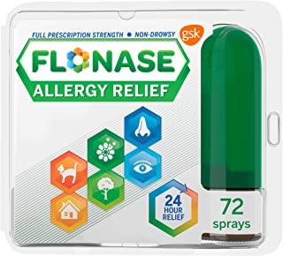 Flonase Allergy Relief Nasal Spray, 24 Hour Non Drowsy Allergy Medicine, Metered Nasal Spray - 72 Sprays