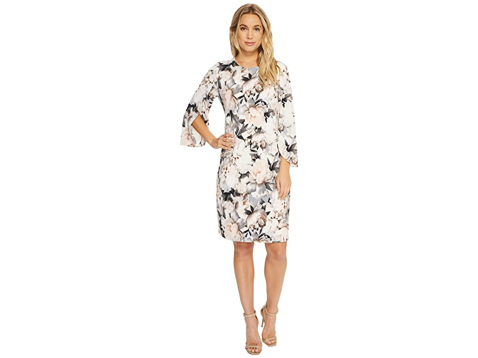 Calvin Klein Print Slit Flare Sleeve Dress (Tin/Black) Women