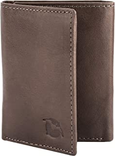 Flying Fossil Genuine Leather Hand-Crafted Wallet, Trifold Minimalist Leather Wallet