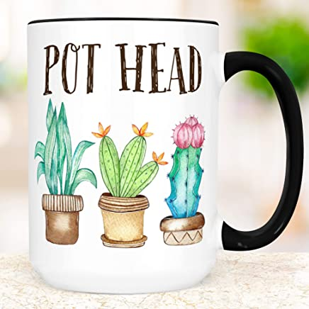 Funny Pot Head Plants Coffee Mug | Succulent Cup | Microwave and Dishwasher Safe Ceramic | Coating Made in USA