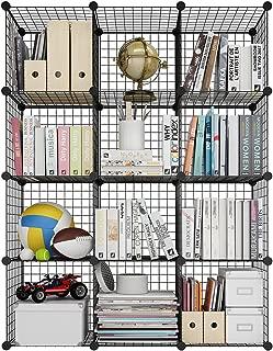 LANGRIA Estantería Modular Multiusos, Librería DIY de Rejilla de Alambre de 12 Cubos, Armario Abierto para Libros, Juguetes, Ropa, Herramientas, Capacidad Máxima de 20 kg por Cubo, Negro