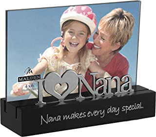 Malden International Designs Nana Desktop Expressions with Silver Word Attachment Picture Frame, 4x6, Black
