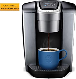 Keurig K-Elite Single-Serve K-Cup Pod Maker with Strength & Temperature Control, Iced Coffee Capability, 12oz Steel Steel Brew Size, Programmable, Brushed Silver (Certified Refurbished)