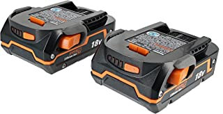 Ridgid Genuine OEM AC840085 Twin Pack of 1.5 Amp Hour 18V Compact Lithium Ion Power Tool Battery with Onboard Fuel Gauge and Flat Standing Base (2 Batteries)