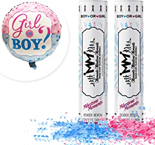 Gender Reveal Confetti Cannon Bundle- Baby Reveal Party Supplies with 18 inch Gender Reveal Boy or Girl Balloon - Set of 1...