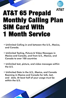 AT&T 65 Prepaid Monthly Calling Plan SIM Card With 1 Month Service
