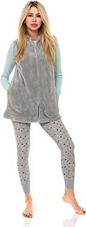 TowelSelections Women's Bed Jacket, Hooded Vest, Zip Front Cardigan Fleece Robe