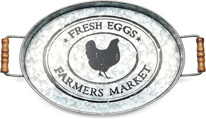Galvanized Chicken Serving Tray, Farmhouse Home Decor (15.5 x 9.4 x 1.4 in)