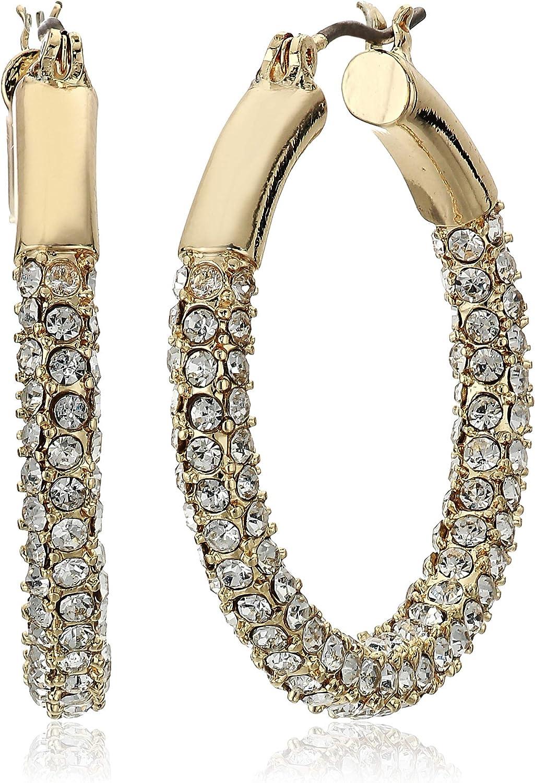 Anne Klein Women's Pierced Earrings Pave Tubular Hoop, Gold