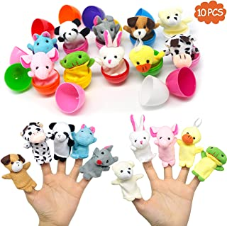 10 pcs plastic Easter Eggs with Plush Animals Finger Puppet set,easter decorations,prefilled