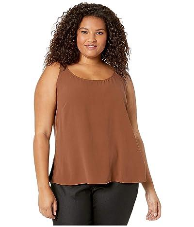 Eileen Fisher Plus Size Silk Georgette Crepe Scoop Neck Tank Top (Nutmeg) Women