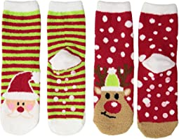 Santa and Reindeer Fuzzy Non-Skid Slipper Sock 2-Pack (Toddler/Little Kid/Big Kid)