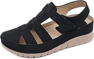 SMajong Sandales Bout Fermé Femme Cuir Casual Mocassins Sandales Bride Cheville Chaussures Plates Chaussures de Marche Lég...