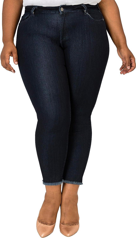 Poetic Justice Plus Size Womens Curvy Fit Dark Vintage Wash Cropped Skinny Jeans