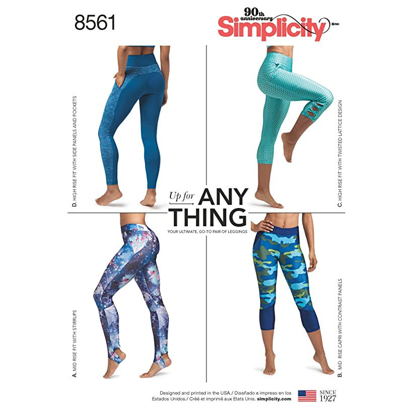 Simplicity Creative Patterns 8561 AA Misses' and Women's Knit Leggings With Seam Variations, Size XS-XL