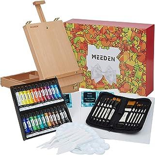 MEEDEN 47 Pcs Acrylic Painting Set - Solid Beech-Wood Studio Sketch Box Easel, 24×12ML Acrylic Paints, Canvas Panels, Acry...