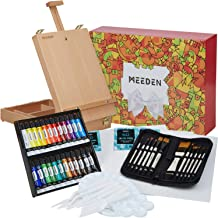 MEEDEN 47 Pcs Acrylic Painting Set - Solid Beech-Wood Studio Sketch Box Easel, 24×12ML Acrylic Paints, Canvas Panels, Acry...
