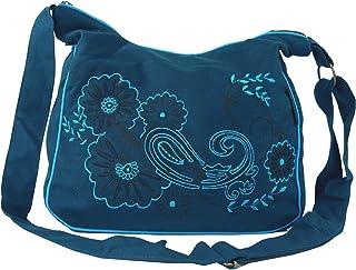 GURU SHOP Schultertasche, Hippie Tasche, Goa Tasche - Grün, Herren/Damen, Baumwolle, 23x28x12 cm, Alternative Umhängetasche, Handtasche aus Stoff