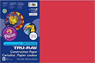 Pacon Tru-Ray Construction Paper, Holiday Red, 12