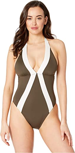 Sunblock Color Block Halter One-Piece
