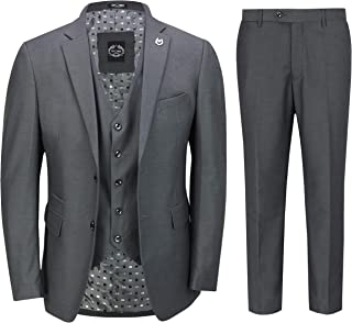 Xposed Mens Black 3 Piece Business Suit Smart Casual Classic Tailored Fit Office Work Formal