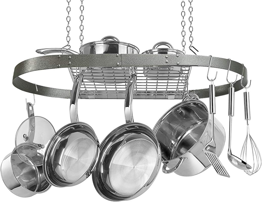 Oval Grey Hammered Pot Rack CW6016